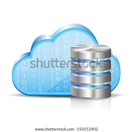 cloud computing and database - stock vector