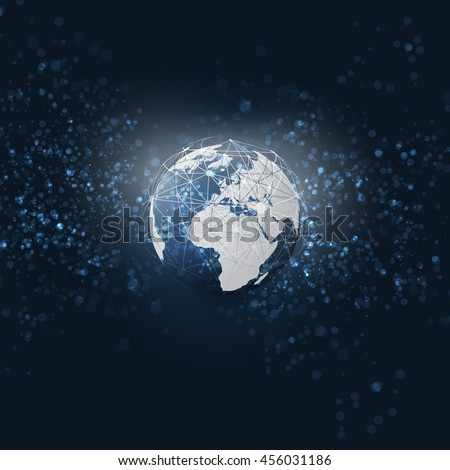 Cloud Computing and Networks with Globe - Abstract Global Digital Network Connections - Modern Style Technology Background, Creative Design Element Template with 3D Wired Earth Concept - stock vector
