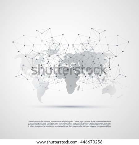 Cloud Computing and Networks with World Map - Abstract Global Digital Network Connections, Technology Concept Background, Creative Design Element Template with Transparent Geometric Grey Wire Mesh - stock vector