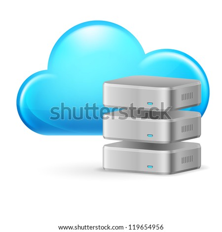 Cloud computing and remote Database. Illustration on white