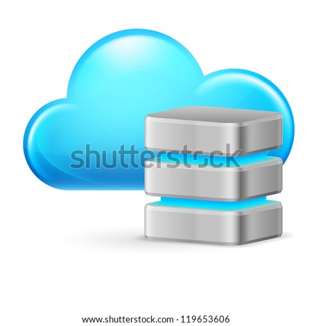 Cloud computing and remote Database. Illustration on white background