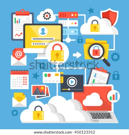 Cloud computing, cloud storage flat design concepts. Modern graphic elements and icons set for websites, web banners, printed materials, infographics. Vector illustration - stock vector