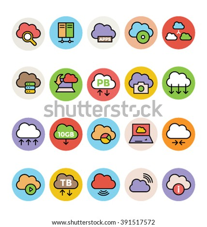 Cloud Computing Colored Vector Icons 3