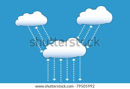 Cloud computing communication diagram, interacting data signals in form of arrows - stock vector