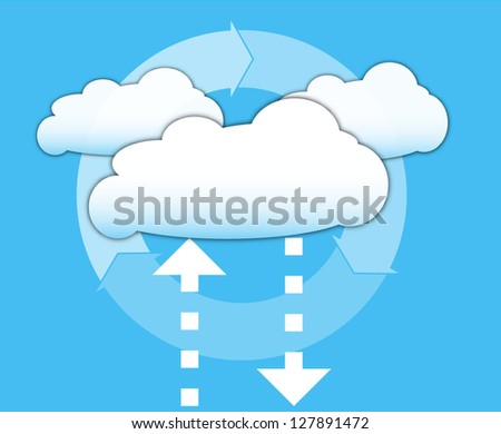 Cloud computing concept and arrows for technical diagrams and documentation - stock vector