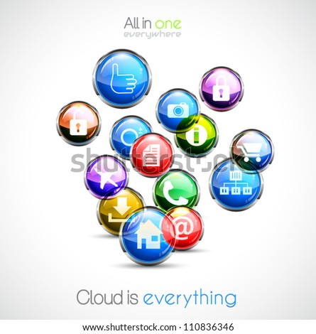Cloud computing concept background with a lot of glossy sphere icons with feed, like, home, phone, locked,networking and so on! - stock vector