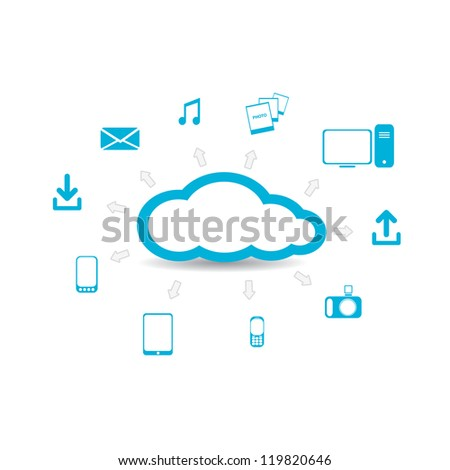 Cloud Computing concept background with a lot of icons. vector illustration. - stock vector