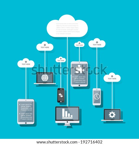 Cloud computing concept design. - stock vector