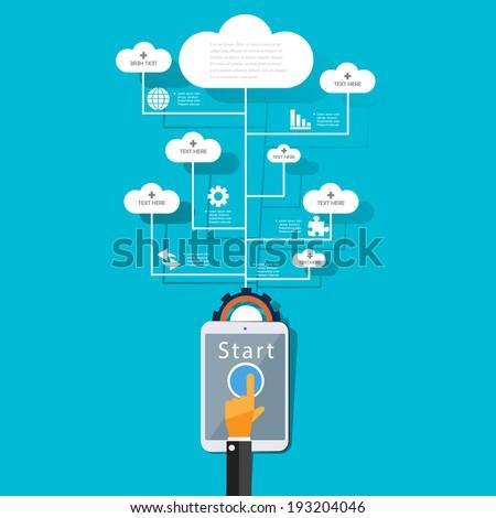 Cloud computing concept design. - stock vector