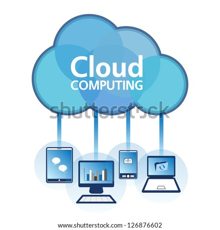 Cloud computing concept design. Devices connected to the �cloud�. EPS10. - stock vector