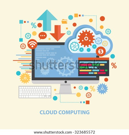 Cloud computing concept design on old background,clean vector - stock vector