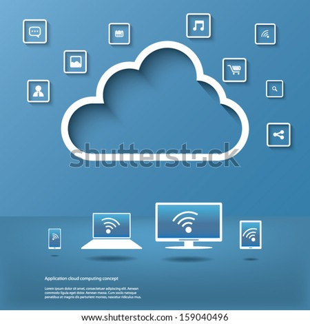 Cloud computing concept design suitable for business presentations, infographics, etc. - stock vector