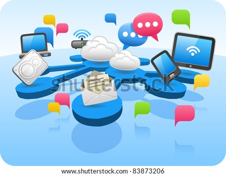 Cloud Computing concept diagram - stock vector