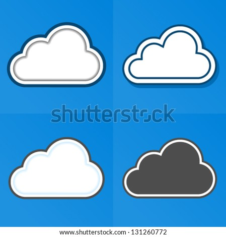 Cloud Computing Concept - 4 different implementation - stock vector