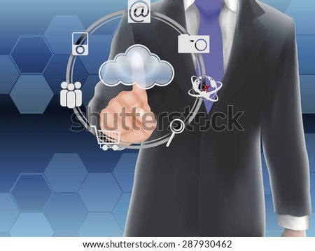Cloud computing concept, finger touching the cloud. vector