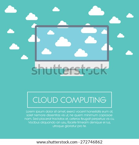 Cloud computing concept illustration with computer screen. Information technology symbol suitable for business presentations, infographics. Eps10 vector illustration. - stock vector