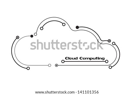 Cloud computing concept in black and white, showing a cloud icon styled like a circuit board. EPS10 vector format - stock vector