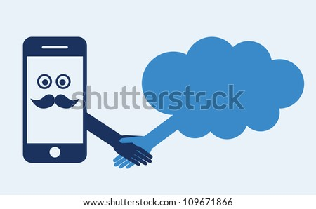 Cloud computing concept. Mobile phone makes contact with a cloud server. Hand shake - stock vector