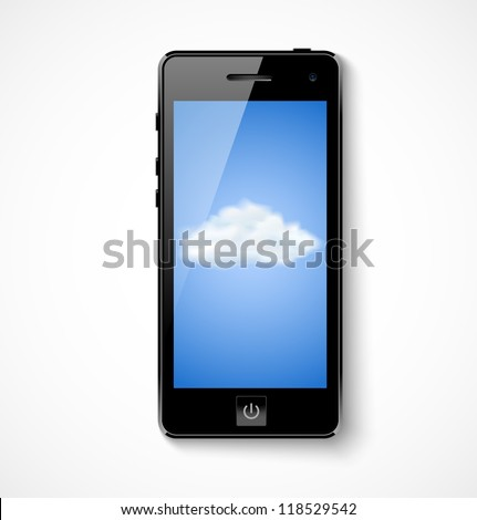 Cloud computing concept. Mobile phone with cloud icon. Vector illustration - stock vector