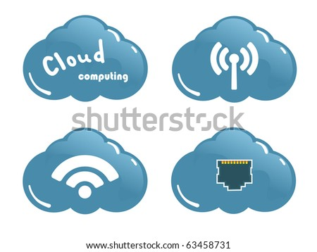 Cloud computing concept. Network Socket, WiFi and wireless Icons - stock vector
