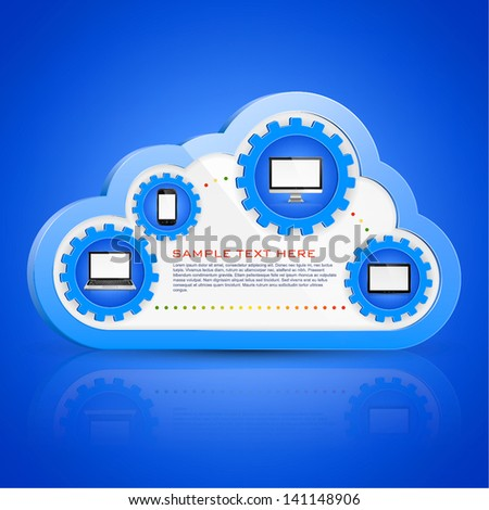 Cloud computing concept on different electronic devices - stock vector