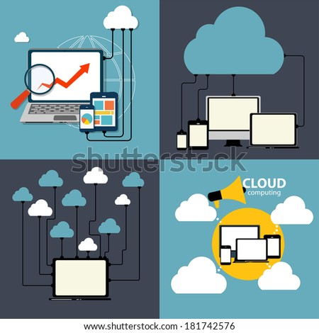 Cloud Computing Concept on Different Electronic Devices. Vector Illustration - stock vector