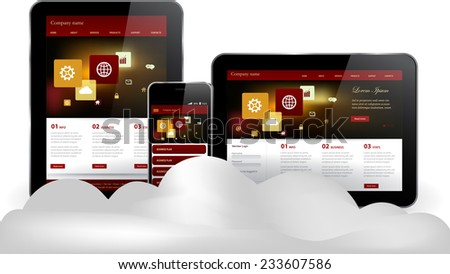 Cloud computing concept on Tablet computer and smart phone  - stock vector