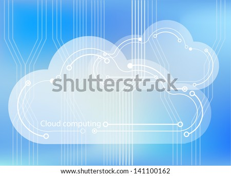 Cloud computing concept showing cloud icons styled like circuit boards agaisnt a circuit board background. EPS10 vector format. - stock vector