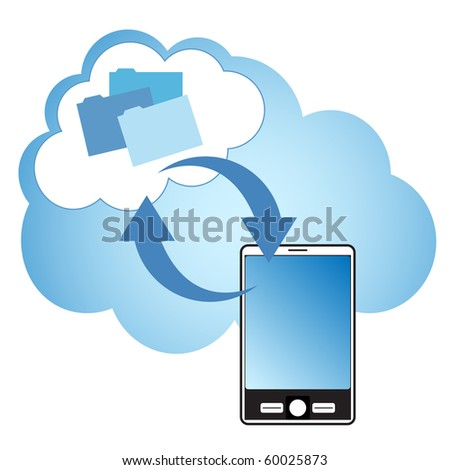 """Cloud computing concept. Smartphone synchronizing data with the """"cloud"""". - stock vector"""
