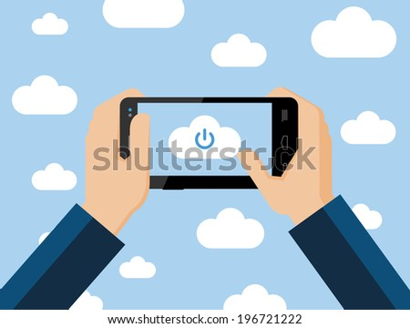 Cloud computing concept, vector flat illustration. Hands holding smartphone connecting to the cloud - stock vector