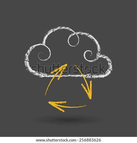 Cloud Computing Concept With Arrows Chalk Drawing - stock vector