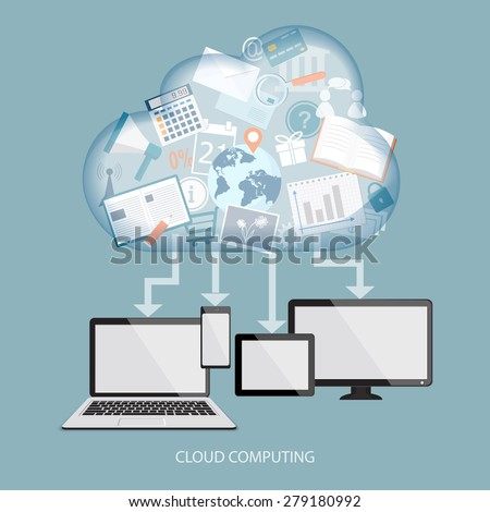 Cloud computing concept with computer, laptop, tablet and mobile phone. Vector illustration. EPS 10. - stock vector