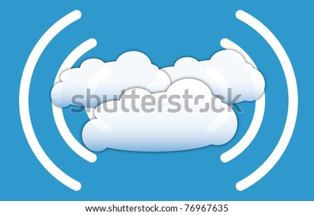 Cloud computing concept with data signals waves - stock vector