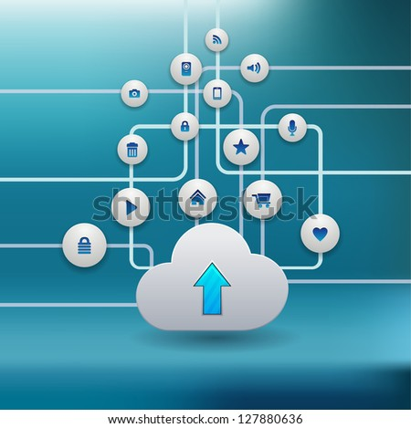 cloud computing concept with icons - stock vector