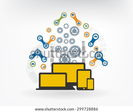 Cloud Computing Concept  with integrated metaballs, icon for digital, internet, network, connect, communicate, technology, global concepts. Vector interactive illustration - stock vector