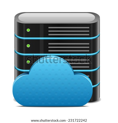 Cloud computing concept with server - stock vector