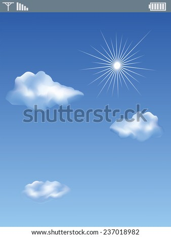 Cloud computing connection on modern mobile smart phone - stock vector