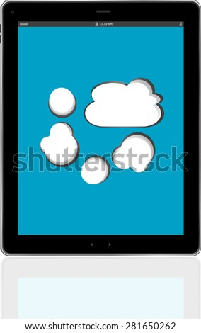 Cloud-computing connection on the digital tablet pc. Conceptual image vector - stock vector