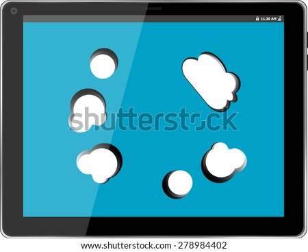 Cloud-computing connection on the digital tablet pc. Isolated on white vector - stock vector