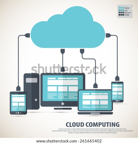 Cloud computing - Devices connected. EPS10 vector. All elements  are in separate layers. Fully editable. - stock vector