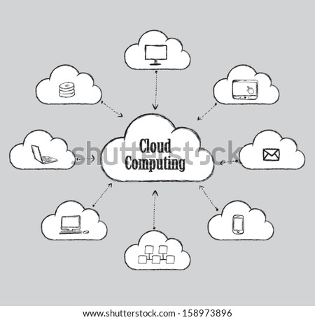Cloud Computing diagram vector drawing style. - stock vector