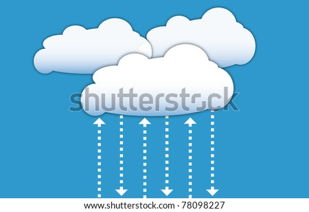 Cloud computing diagram with data signals in form of arrows - stock vector