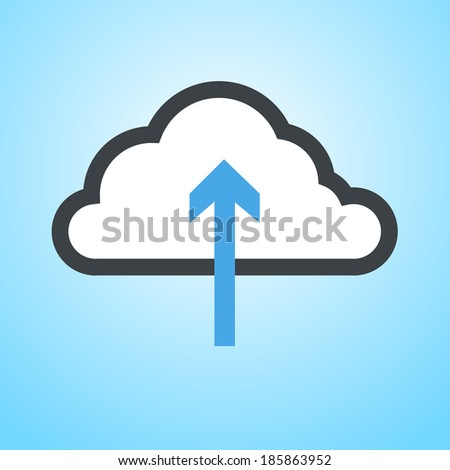cloud computing download icon   vector flat design element on modern blue background - stock vector