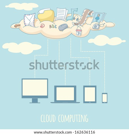 Cloud computing. EPS 10. No transparency. No gradients.