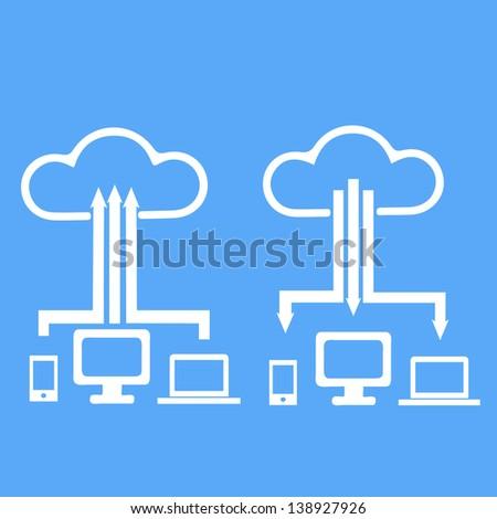 Cloud computing icon concept - stock vector