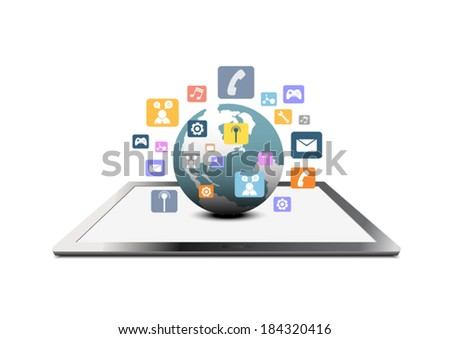 cloud computing icon global technology communication concept, vector illustration - stock vector