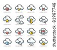 Cloud computing | icon set - stock vector