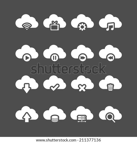 cloud computing icon set, each icon is a single object (compound path), vector eps10 - stock vector