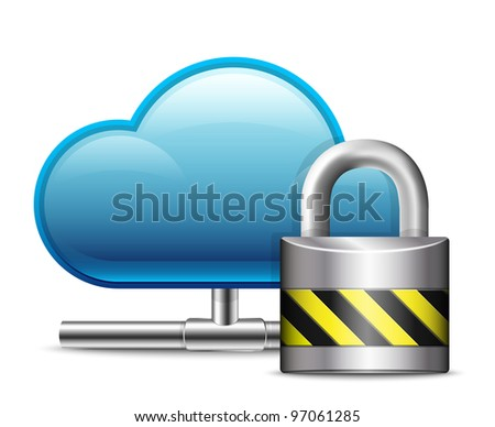 Cloud Computing Icon with Protection. Vector - stock vector