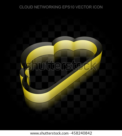 Cloud computing icon: Yellow 3d Cloud made of paper tape on black background, transparent shadow, EPS 10 vector illustration. - stock vector